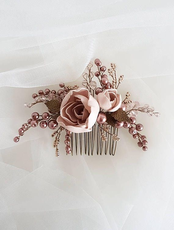 Vintage inspired Bridal hair comb, Bronze Wedding hair comb, Bridal headpiece, Wedding headpiece, Bridal hair piece, Wedding hair piece