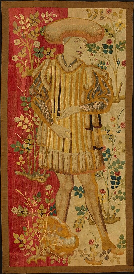 Figures In A Rose Garden  --  Circa 1450–55  --  South Netherlandish  --  Wool warp, wool, silk & metallic weft yarns