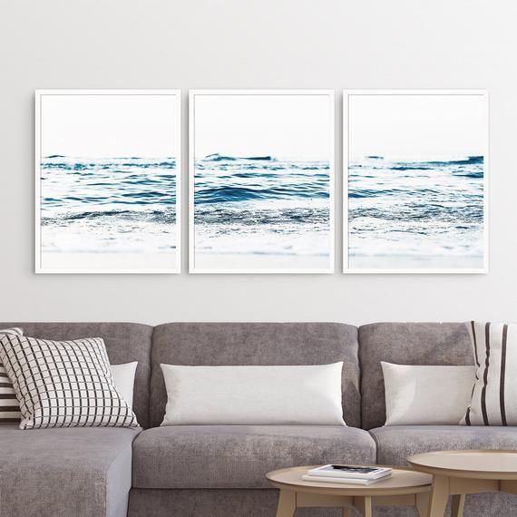 Triptych Wall Art 3 Piece Set Beach Wall Art Set Of 3 Prints Teal