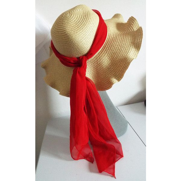 FAbulous Way Edge Straw Floppy Hippy Hat with Red Tulle Banding this... ($31) ❤ liked on Polyvore featuring accessories, hats, band hats, red floppy hat, hippy hat, red hat and floppy hippie hat