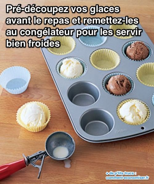 pré-découpez la glace avant le repas
