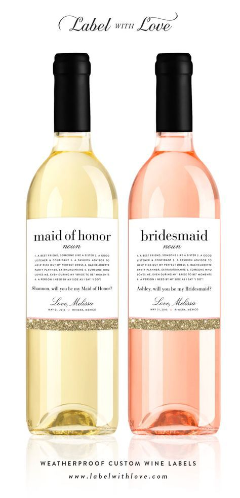 Will You Be My Bridesmaid Wine Labels - Faux Glitter Definition Weatherproof Removable Ask Bridesmaid Wine Bottle Sticker by LabelWithLove on Etsy https://www.etsy.com/listing/197706626/will-you-be-my-bridesmaid-wine-labels