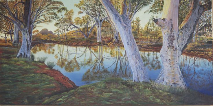 Inspiration for this painting was taken from a photograph by Ken Duncan, somewhere in NT, Australia.  Love reflections in my paintings.
