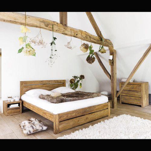 table de chevet avec tiroir en bois de sheesham massif l 40 cm plus - Lit Double En Bois Massif