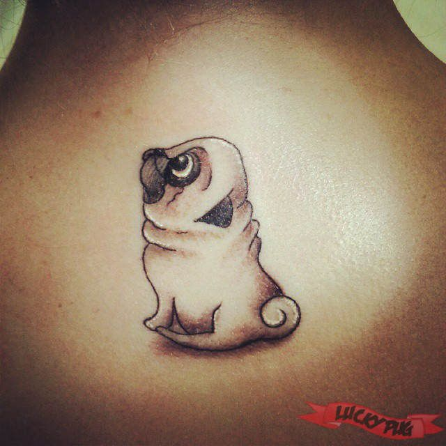 RIP Hobo - Back Pug Tattoo on Aimee Zermatten, by Brent Gaudie of the Tattoo Shop Alberton - www.luckypug.com