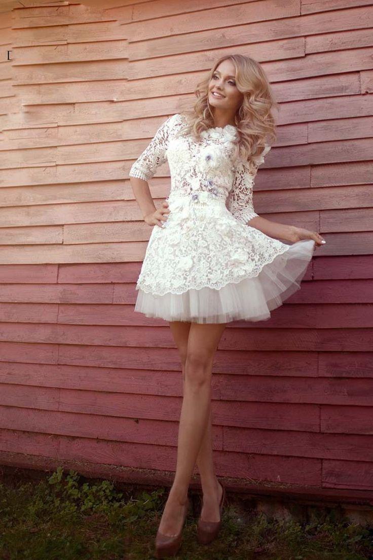 White Half Sleeve Sexy Mini Prom Dress Party
