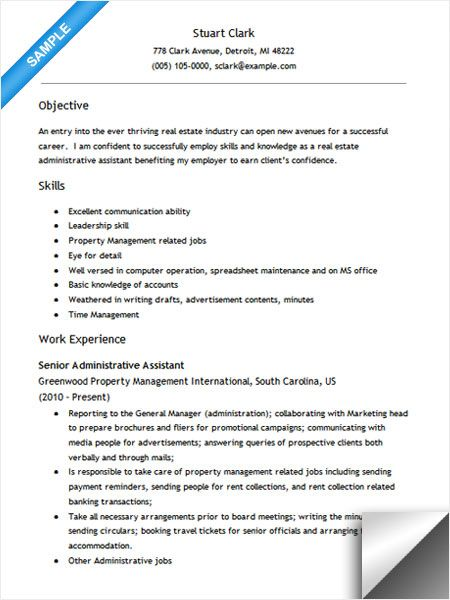 Confortable Sample Resume Administrative assistant Real Estate