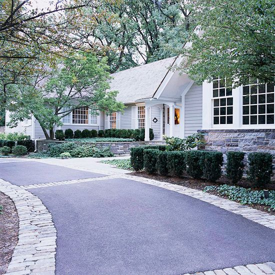 ress up the driveway    If your driveway is cracked or stained or has vegetation sprouting from it, you can upgrade it without doing a complete redo. First repair the cracks and stains (and kill the weeds), then dress it up by staining the concrete or affixing flagstones. If you need more room to move your car or park, add stone, brick, or pavers to the sides of the drive to widen it with flair.