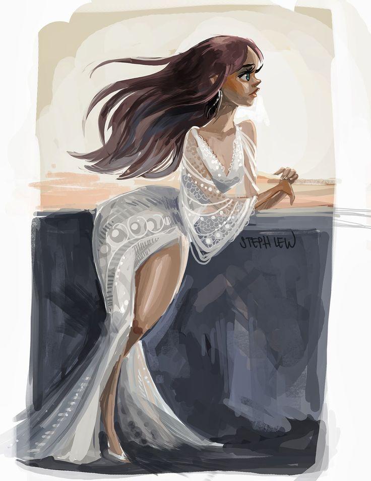 Girl. White Dress, Bridal Gown / Ragazza. Vestito bianco. Vestito da Sposa - Art by Steph Lew