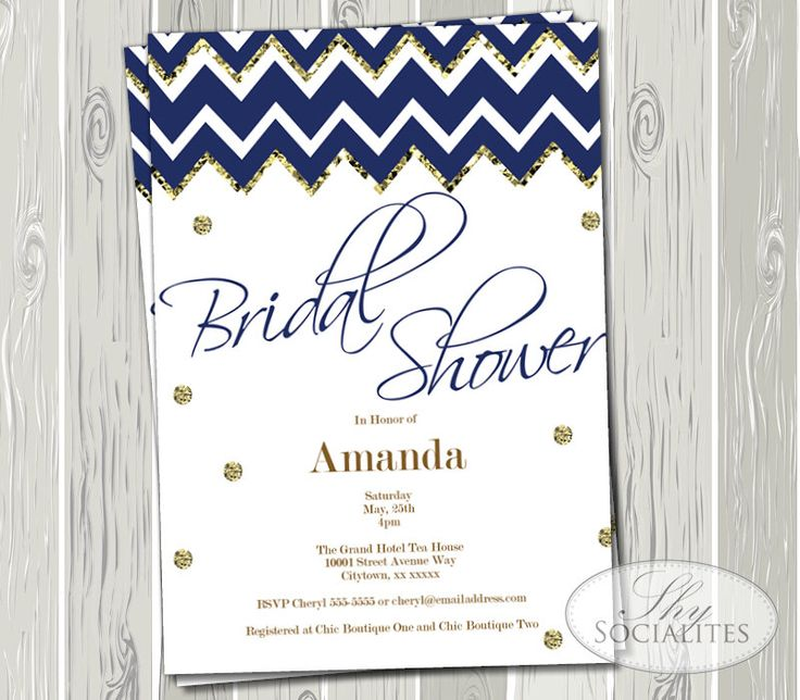 Navy & Gold Chevron Bridal Shower Invitation | Blue, Confetti, Modern, Simple |  Printed or Printable Cards | Instant Download by ShySocialites on Etsy https://www.etsy.com/listing/195544290/navy-gold-chevron-bridal-shower