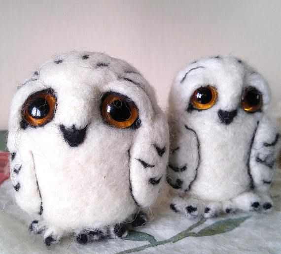 needle felted owls white baby snowy owl family soft sculpture