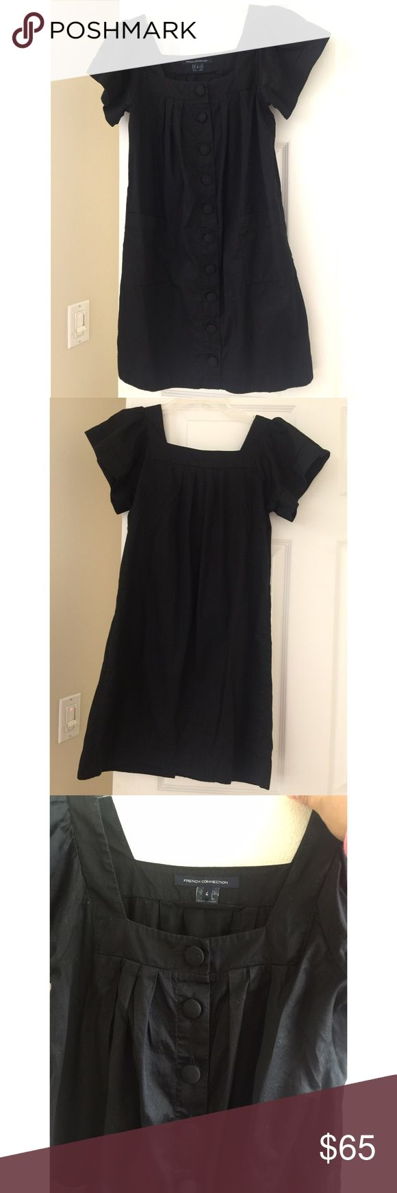Black French Connection Mini Dress Gorgeous casual mini dress from French Connection In excellent preworn condition with no rips, no stains, no tears. The style is a button down dress that fits above the knees. Super perfect for fall and pair it with some leggings and knee high boots. Size 4. **No Trades** French Connection Dresses Mini