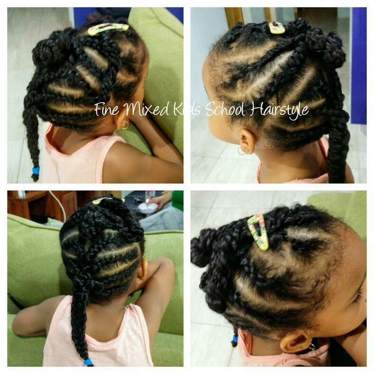 Fine, Low Density, Mixed Girl School Hairstyle -Cornrow with Twist