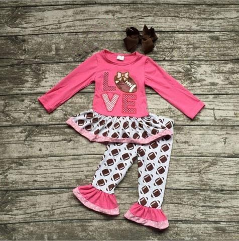 Love Football Set-little girls football outfit with bow www.My4Princesses.com
