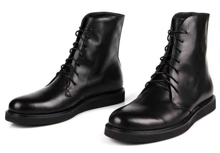 Barato 2016 Brand Black Mens Lace up Ankle Boots Genuine Leather Military Boots Mens Winter Shoes New Mens Motorcycle Boots, Compro Qualidade Botas dos homens diretamente de fornecedores da China: 2016 Brand Black Mens Lace up Ankle Boots Genuine Leather Military Boots Mens Winter Shoes New Mens Motorcycle Boots