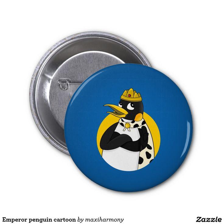 Emperor penguin cartoon 2 inch round button