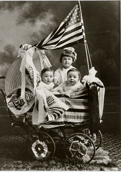 These children, photographed by an unknown artist, pose with the American flag. Faris and Yamna Naff Arab-American Collection, Archives Center, National Museum of American History. #flagday