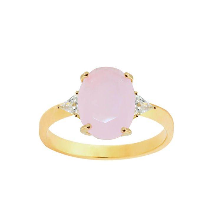 Anel com dois cristais e cristal quartzo rosa folheado a ouro 18kDimensões aproximadas:Altura: 1,6 cmLargura do cristal rubi: 1,1 cmA New Bijoux oferece a garantia de 1 ano no banho desta peça.