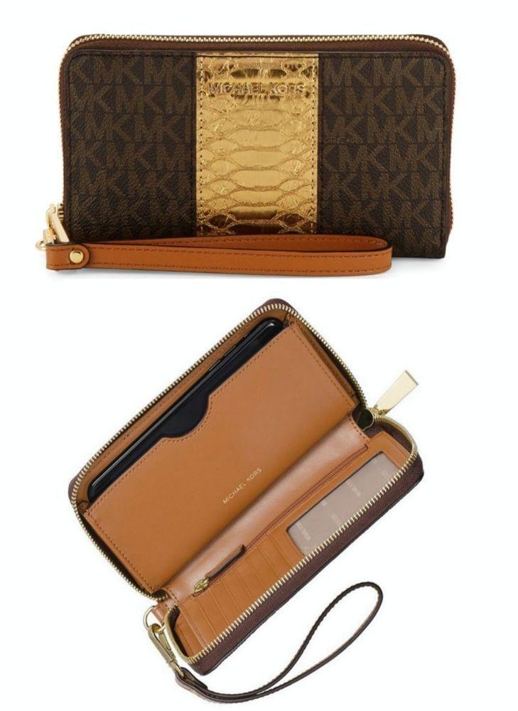 637ee5a4241b Michael Kors Large Flat MF Phone Case Wristlet/Wallet Brown NWT  #MichaelKors #MultiFunctionPhoneCase