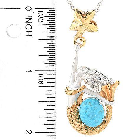 148-243 - Gems en Vogue 12 x 10mm Bird's Eye Turquoise Mermaid Pendant