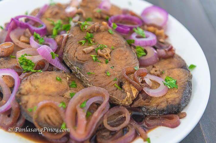 Tanigue Fish Steak Ala Bistek Is The Fish Version Of Filipino Bistek Tagalog The Fish Which Are Fish Steaks Were Rub Fish Steak Recipe Recipes Steak Recipes