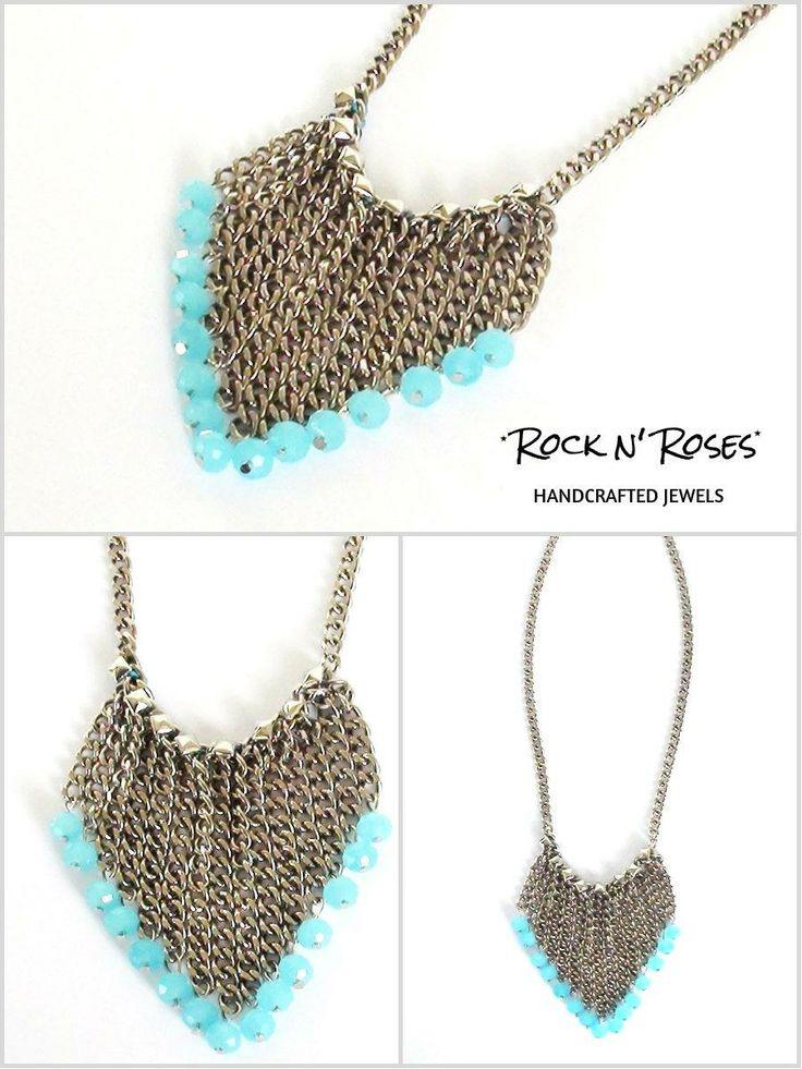 ★__Rock n' Roses handcrafted jewels--'V' turquaze necklace__★ http://rocknroses-gr.blogspot.gr/2014/05/rock-n-roses-new-necklaces-ss-2014-v.html