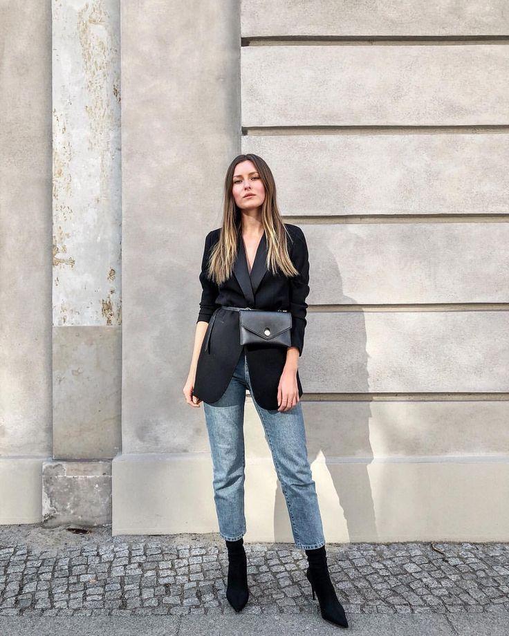 Belt bag, black blazer, mom jeans, sock boots, outfit
