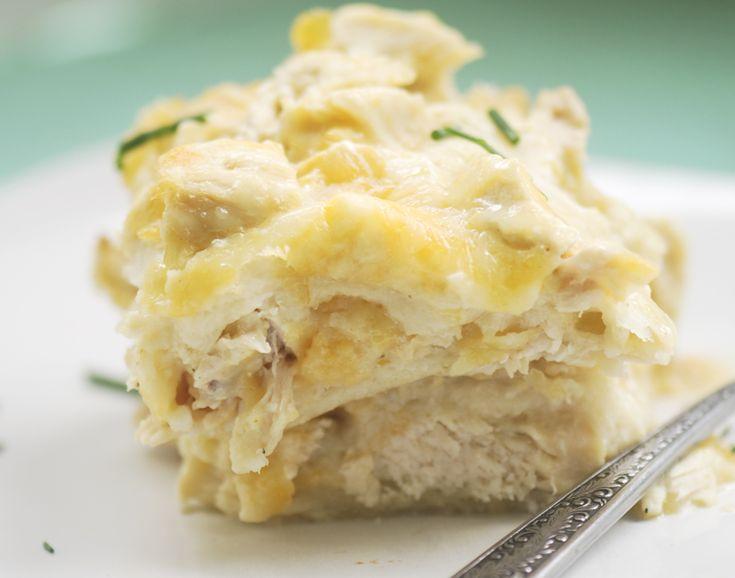 Trisha Yearwood's Chicken Tortilla Casserole: chkn, salt, green chiles, onion, garlic, sour cream, cumin, pepper, corn tortillas, cheddar cheese. gravy: butter, flour, chkn stock, milk, S.
