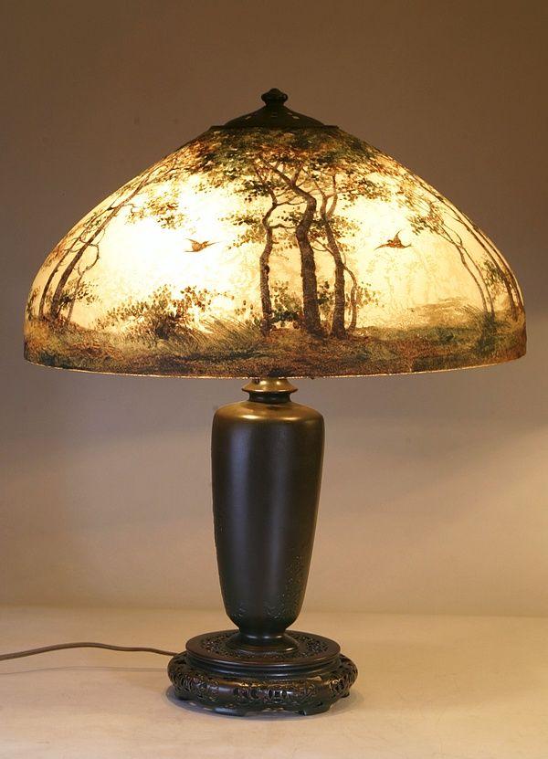 Handel Scenic Painted Birds Lamp Vintage Retro And Antique