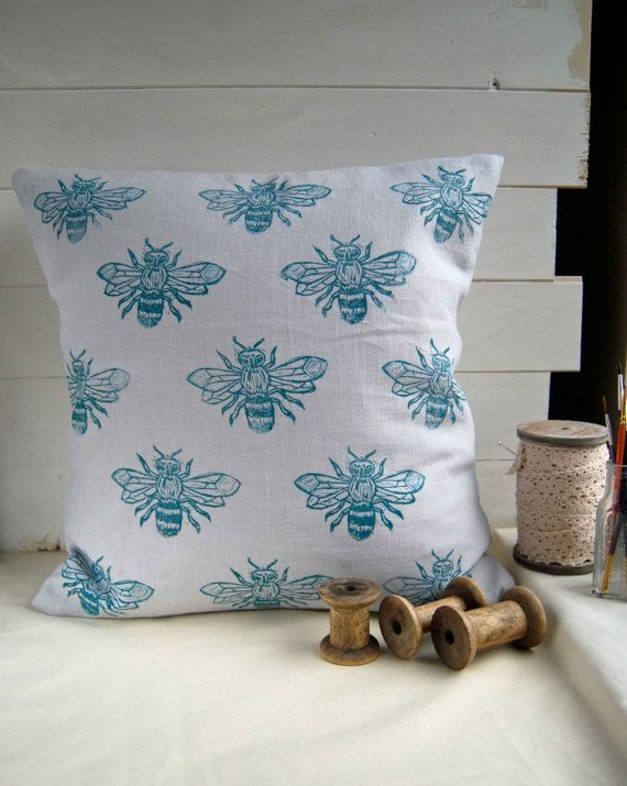Hey, I found this really awesome Etsy listing at https://www.etsy.com/listing/174706813/bee-cushion-cover-hand-printed-grey