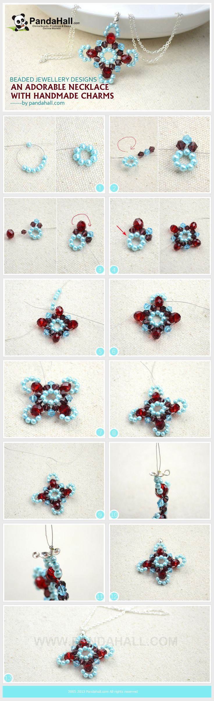 This new tutorial is all about beaded jewellery designs! You will learn how to turn inexpensive beads into a special project, such as this handmade charm. Each step is detailed with photos and explanations.