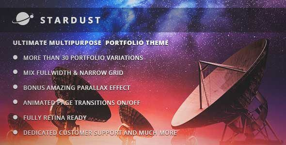 Download and review of Stardust - Multi-Purpose Portfolio WordPress Theme, one of the best Themeforest Creatives themes