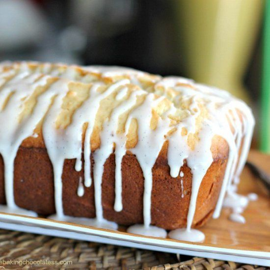 OMGoodness! Rich Vanilla Beans in the cream cheese pound cake and the glaze for a double win! Amazing, velvety, moist and dense -- heavenly!
