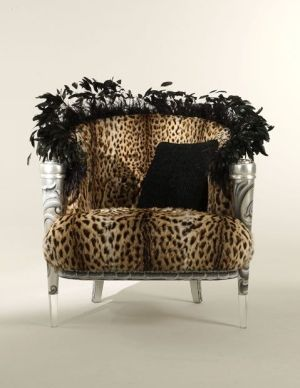 Feather Leopard Print Settee
