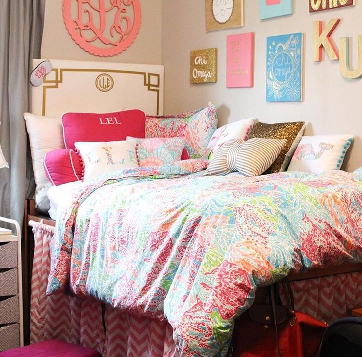 Preppy dorm headboard and bedskirts by www.decor-2-ur-door.com Love this!