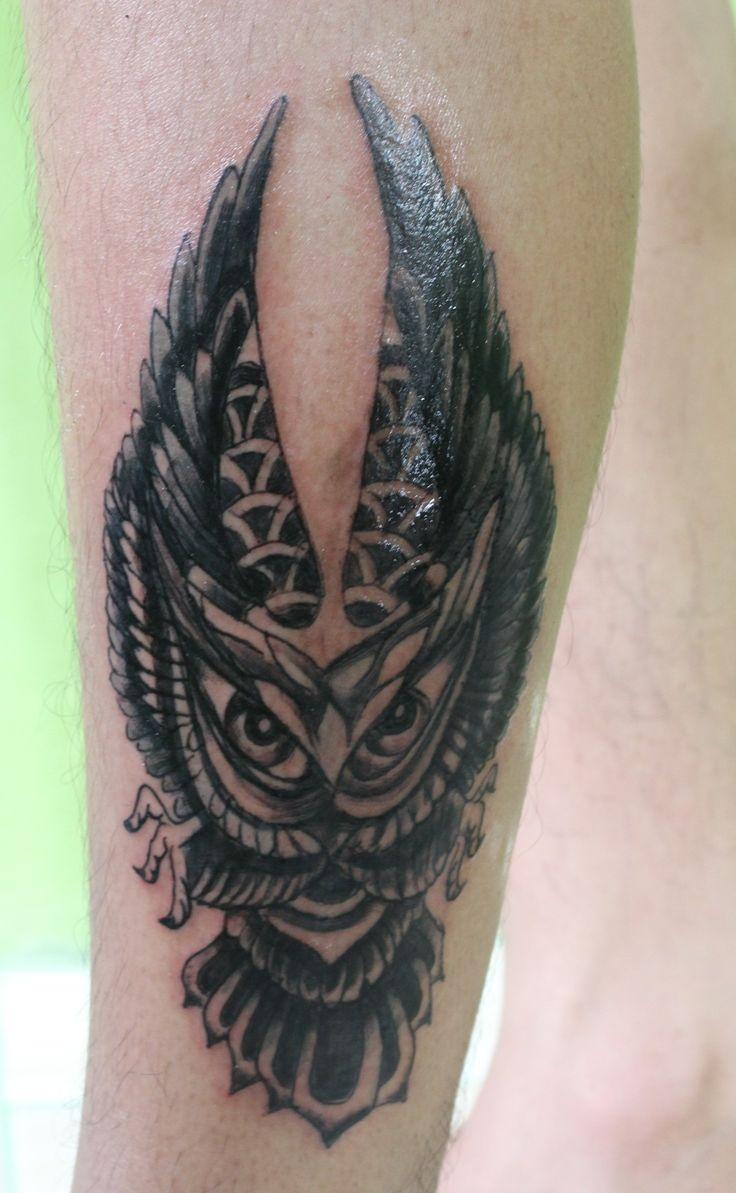 Owl tattoo by me! #owltattoo#blackandgreytattoo