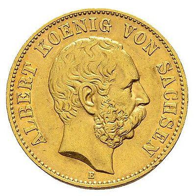 20 Mark König von Sachsen Albert J264 Goldmünze