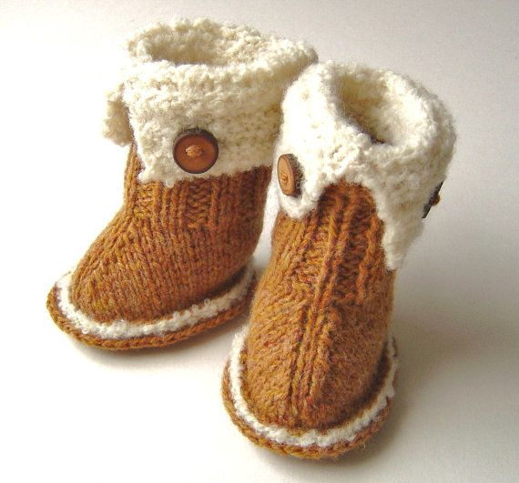 Knitting pattern Baby Booties quick and easy knitting tutorial for Snuggly ug...