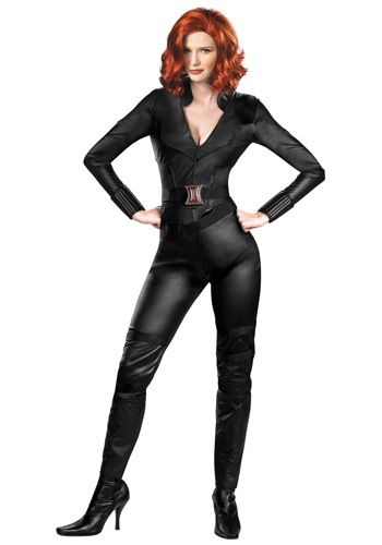 This Adult Deluxe Avengers Black Widow Costume makes a sexy Black Widow costume for women, and a great addition to any Avengers group costume.