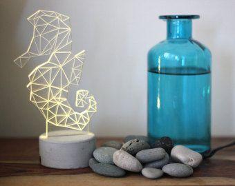 Gris concreto seahorse lámpara, luz de noche animal, Caballito de mar noche luz, lámpara náutica