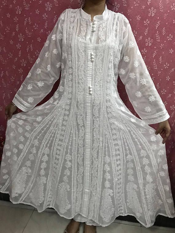 Check out this item in my Etsy shop https://www.etsy.com/uk/listing/557355930/long-maxi-white-cotton-anarkali-hand