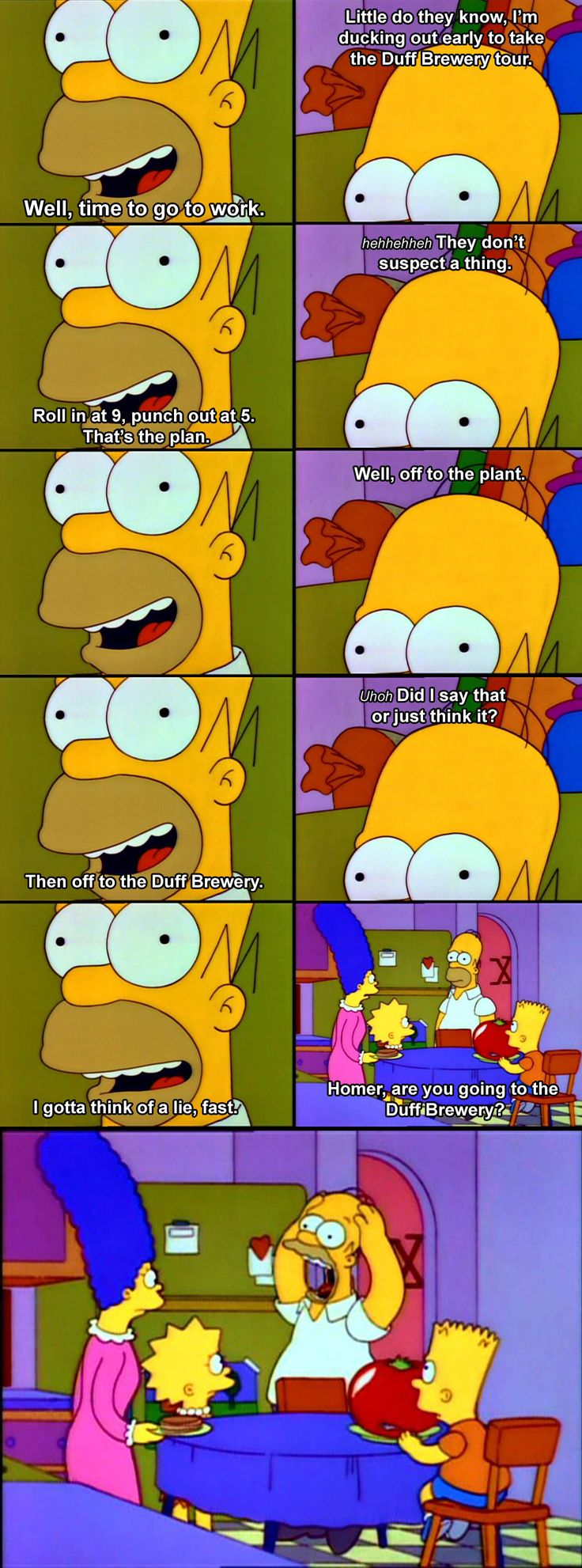 """The Simpsons: Homer """"Roll in at 9, punch out at 5."""""""
