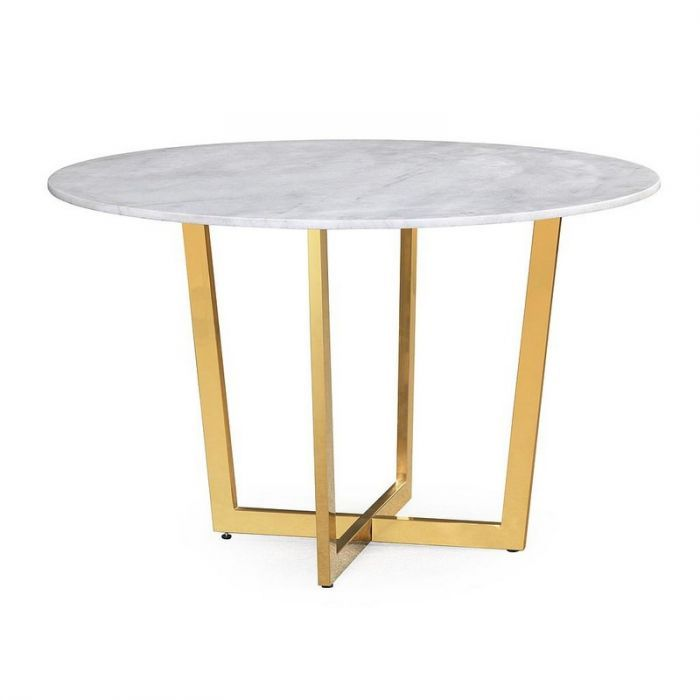 Tov G5463 Maxim White Marble Dining Table Dining Table Marble Dining Table Gold Round Marble Dining Table