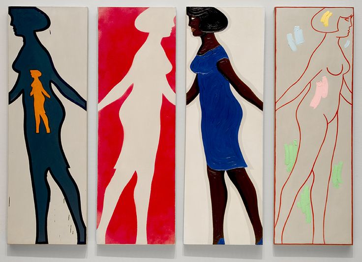 """Michael Snow's trademark Walking Woman considers that a form can be both a positive (a presence to be looked at) and a negative (an absence to be looked through), which can be explored through an infinite number of creative possibilities. """"Four Grey Panels and Four Figures,"""" 1963, Montreal Museum of Fine Arts, photographed by Brian Merrett."""