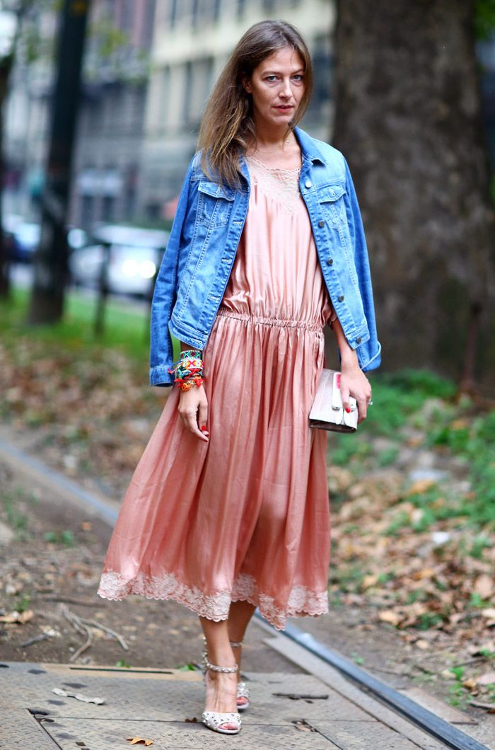 Aurora Sansone with an awesome denim + pinky-satiny-lacy situation on her hands. Milan. #PhilOh