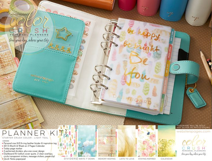 Webster's Pages New Personal Planners, Color Crushing on Light Teal!