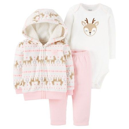 Baby Girls' 3-Piece Fleece Cardigan Set Pink Hooded Deer - Just One You™Made by Carter's®