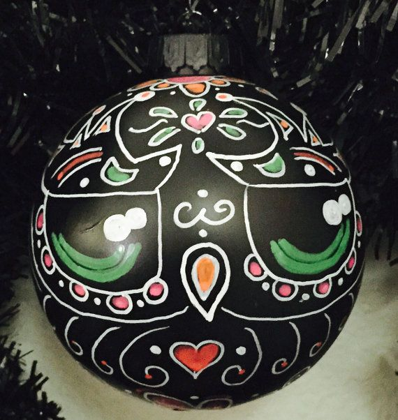 Black day of the dead owl ornament colorful by DiaDeLosBicycles