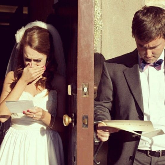 An idea that I always encourage my bride & groom's to do. There are times when the notes are jotted on napkins, toilet tissue, etc...     No matter how ya do it; have each write a letter to each other and read it at the same time on either side of the door. The messenger can be one of the attendants, flower-girl, ring-bearer, pet...anyone.