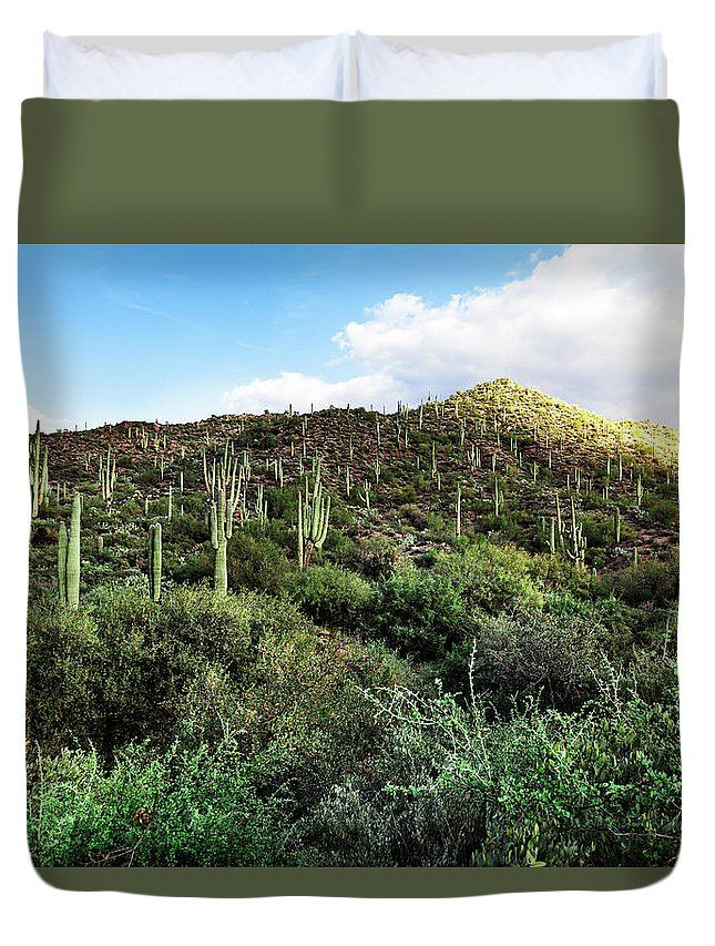 Duvet Cover featuring the photograph The Green Hill by Evgeniya Lystsova. Mountain landscape with Saguaro cactus in Arizona, Tonto National Forest, USA. Make your Home special with stylish art products you choose! Our soft microfiber duvet covers are hand sewn and include a hidden zipper for easy washing and assembly. Your selected image is printed on the top surface with a soft white surface underneath. All duvet covers a machine washable.